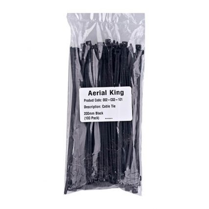 CABLE TIE 205MM BLACK (100/PACK)