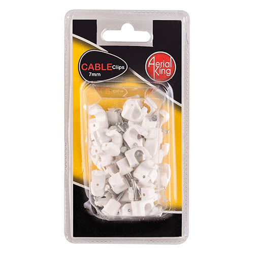 CABLE CLIPS 7MM WHITE (50)